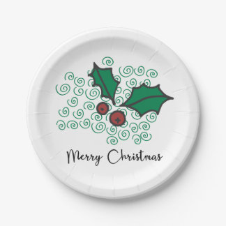 Modern Red and Green Christmas Holly Design Paper Plate