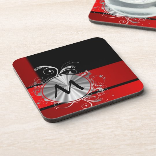 Modern red and silver monogram beverage coasters