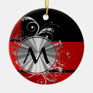 Modern red and silver monogram christmas ornament