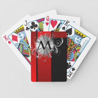 Modern red and silver monogrammed bicycle playing cards