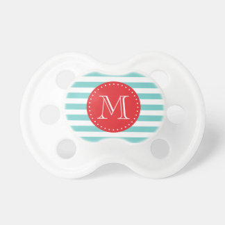 Modern Red and Teal Stripes Custom Monogram Dummy