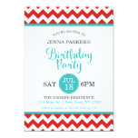 Modern Red and Turquoise Chevron Birthday Party 13 Cm X 18 Cm Invitation Card