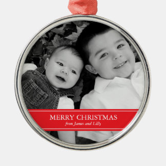 Modern Red and White Christmas Christmas Ornament