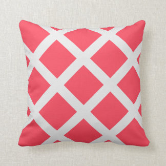 Modern Red and White Criss Cross Stripes Throw Pillow