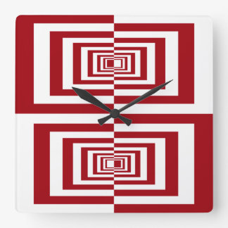 Modern Red and White Geometric Square Wall Clock