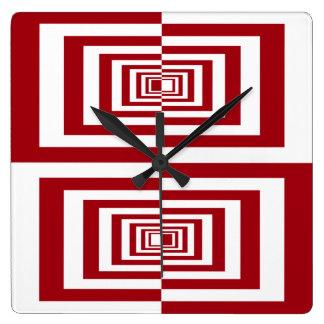 Modern Red and White Geometric Wall Clocks