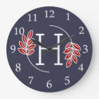 Modern Red and White Laurel Monogram Large Clock