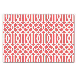 Modern Red and White Moroccan Trellis Pattern Tissue Paper