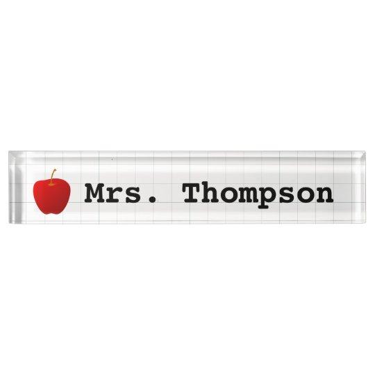 Modern Red Apple Teacher Desk Name Plates