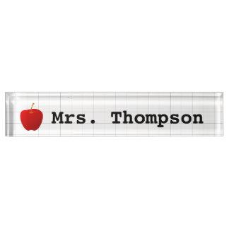 Modern Red Apple Teacher Nameplate
