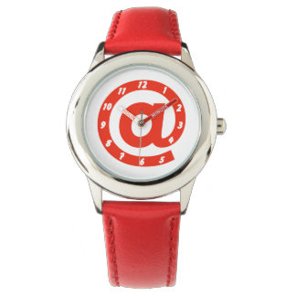 Modern Red At Sign Watch
