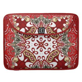 Modern Red Batik Art Rickshaw Flap Sleeve MacBook Pro Sleeves