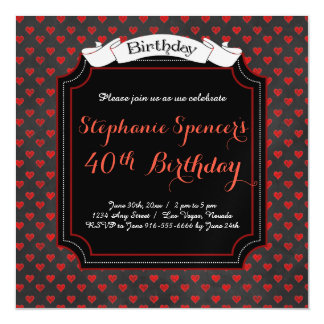 Modern Red Black Hearts Magnetic Birthday Magnetic Invitations