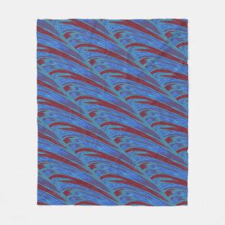 Modern Red Blue Color Swish Fleece Blanket