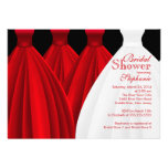 Modern Red Bridesmaids Bride Dress Bridal Shower Personalized Invitation