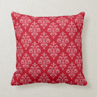 Modern Red Damask Throw Pillow