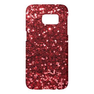 Modern Red Faux Glitter Print
