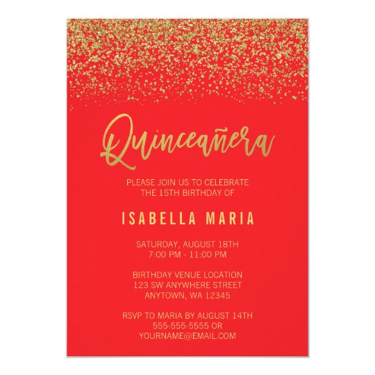 Modern Red Faux Gold Glitter Quinceanera Card