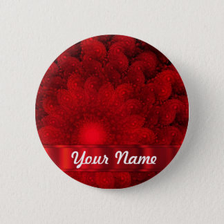 Modern red fractal abstract 6 cm round badge