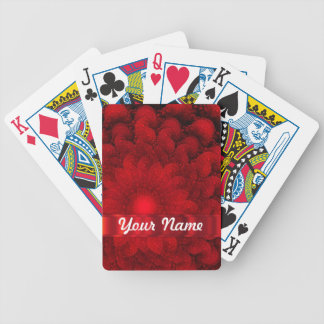 Modern red fractal abstract bicycle playing cards