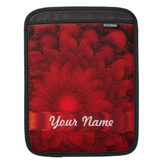 Modern red fractal abstract iPad sleeve