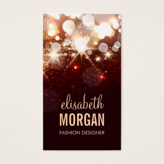 Modern Red Glitter Sparkle Bold Business Card