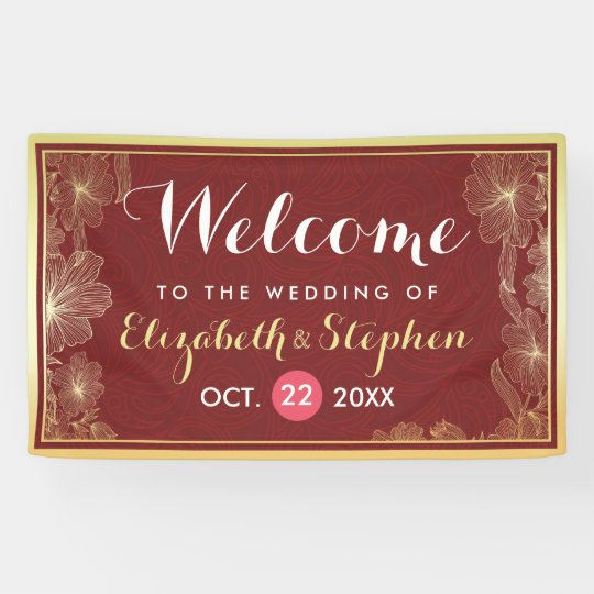 Modern Red Gold Floral Frame Wedding Welcome Sign