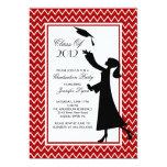 """Modern Red Graduation Invitation Silhouette Grad 5"""" X 7"""" Invitation Card"""