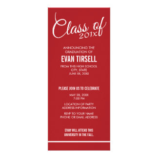 Modern Red Graduation Photo Announcement Party