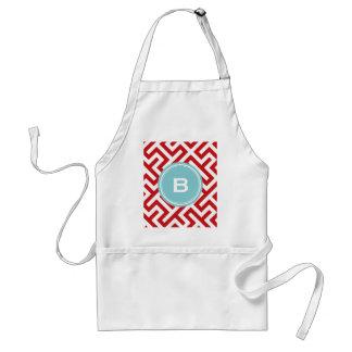 Modern red greek key geometric patterns monogram standard apron