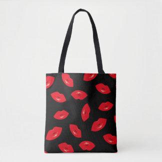 Modern Red Lips Pattern Red Lipstick Print Tote Bag