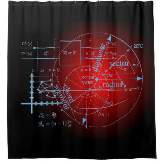 Modern Red Math Geometry Circle Equations on Black Shower Curtain