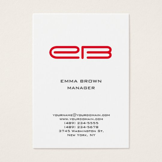 Modern red monogram white background business card