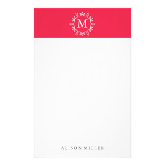 Modern Red Monogrammed Stationery