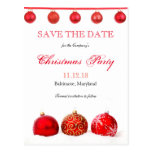 Modern Red Ornaments Save The Date Christmas Party Postcard