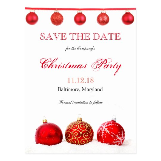 Modern Red Ornaments Save The Date Christmas Party