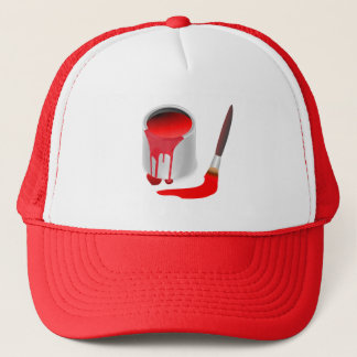 MODERN RED PAINT AND BRUSH DESIGN TRUCKER HAT