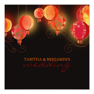 Modern Red Paper Lanterns Elegant Formal Wedding Invites