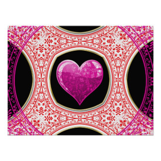 Modern Red Pink & Black Floral Heart Mosaic Poster