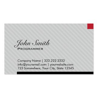 Modern Red Pixel Programmer Business Card