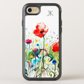 Modern Red Poppies & Colorful Flowers OtterBox Symmetry iPhone 8/7 Case