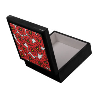Modern Red Poppies Floral Jewelry / Gift Box