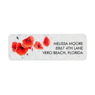 Modern Red Poppy Floral Return Address