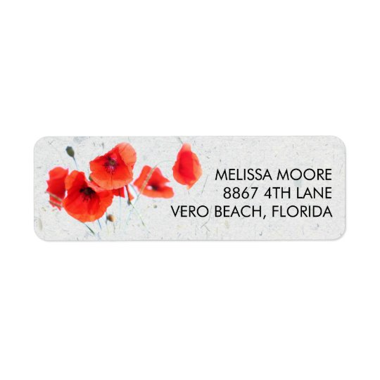 Modern Red Poppy Floral Return Address Return Address Label