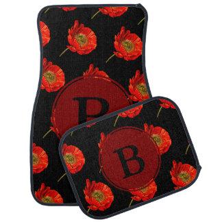 Modern Red Poppy Flowers & Initial Letter Car Mat