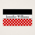 Modern Red Professional Polka Dot Business Card