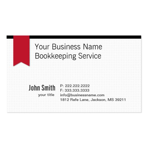 Create your own bookkeeper business cards modern red ribbon bookkeeping business card reheart Choice Image