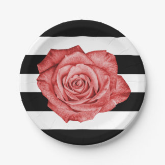 Modern Red Rose Black White Striped Wedding Party 7 Inch Paper Plate