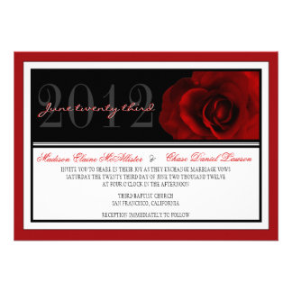 Modern Red Rose Wedding Invite