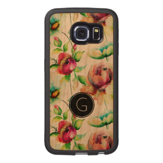 Modern Red Roses & Green Leafs Watercolors Pattern Wood Phone Case